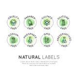 Skyddande fria organiska produktklistermärkear royaltyfri illustrationer