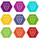 Skyddande hexahedron för färg för sköldsymbolsuppsättning royaltyfri illustrationer