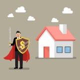 Skyddande hus för affärsman med skölden och svärdet Royaltyfri Fotografi