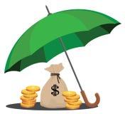 Skyddande pengar och rikedom vektor illustrationer