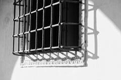 Skyddande skyddsgaller för härlig metall på fönstret royaltyfria foton