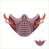 Skyddande sportmaskering Läskig gigantisk maskering eller galning med brand stock illustrationer