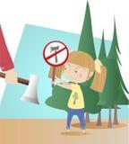 Skyddande träd för liten flicka från wood skärare royaltyfri illustrationer