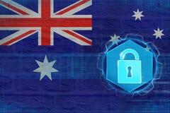 Skyddat Australien nätverk Digital skyddsbegrepp Royaltyfri Foto