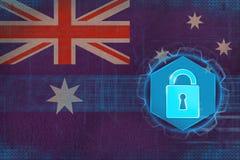 Skyddat Australien nätverk Rengöringsdukförsvarbegrepp Fotografering för Bildbyråer