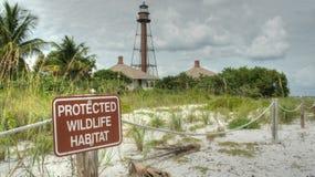 Skyddat djurlivlivsmiljötecken med fyren i bakgrund arkivbild