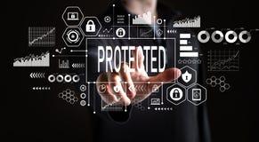 Skyddat med affärsmannen royaltyfri fotografi