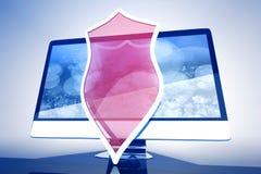 Skyddat och alla skyddat i en dator stock illustrationer