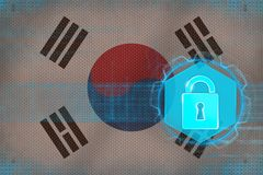 Skyddat Republiken Korea Sydkorea nätverk för begreppsbild för dator 3d framfört skydd Fotografering för Bildbyråer