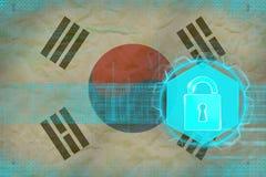 Skyddat Republiken Korea Sydkorea nätverk Netto säkerhetsbegrepp Arkivbild