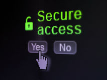 Skyddsbegrepp: Den öppnade hänglåssymbolen och säkrar Arkivbilder