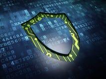 Skyddsbegrepp: Dragen upp konturerna av sköld på digital skärmbakgrund Arkivbilder