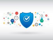 Skyddsbegrepp för Digital teknologi Cyberdatasäkerhet Arkivfoton