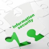 Skyddsbegrepp: Informationssäkerhet på pusselbakgrund Royaltyfria Bilder