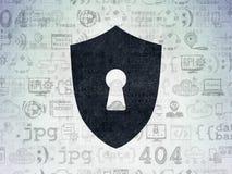 Skyddsbegrepp: Sköld med nyckelhålet på digitalt Arkivbild
