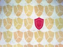 Skyddsbegrepp: sköldsymbol på Digital papper Royaltyfria Foton