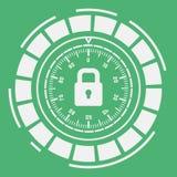 Skyddsbegrepp: Stängd hänglås gears symbolen Skydds- och antivirusbegrepp Säkerhets- och säkerhetssystemsymbol Royaltyfri Foto