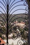 Skyddsgaller på fönstret. Arkivfoto