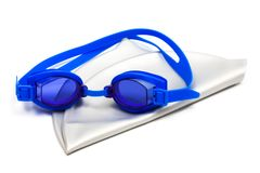 Skyddsglasögon och lock för att simma fotografering för bildbyråer