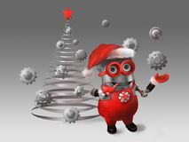 Skyddslingen klär upp julgranen stock illustrationer