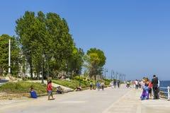 Skyddsmur mot havet i Constanta, Rumänien Royaltyfri Foto