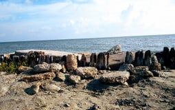 Skyddsmur mot havet med trästaketet Royaltyfria Bilder