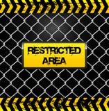 Skyddsområdetecken - trådstaket och gulingbandillustration Arkivbilder