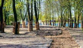Skyddsplankor av trädstammar från mekanisk skada under byggnation Arkivfoto