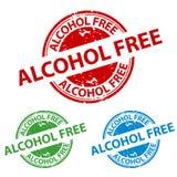 Skyddsremsa för Rubber stämpel - fri knapp för alkohol - vektorillustration som isoleras på vit bakgrund royaltyfri illustrationer