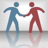 skyddsremsa för folk för överenskommelseavtalshandskakning Arkivbild