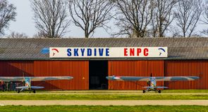 Skydive ENPC at seppe airport breda, Bosschenhoofd, the Netherlands, March 30, 2019. The skydive ENPC at seppe airport breda, Bosschenhoofd, the Netherlands royalty free stock photography