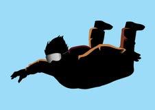 skydiver ελεύθερη πτώση με αλεξί& διανυσματική απεικόνιση