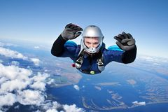 Skydiver. Falls through the air Stock Photography