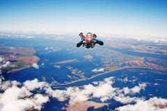 Skydiver. In the sky. Parachuting is fun Stock Photo