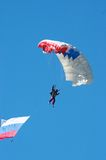 Skydiver. In airshow. Novosibirsk, Airport Mochishe, august 2006 Stock Image