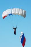 Skydiver. In airshow. Novosibirsk, Airport Mochishe, august 2006 Stock Images