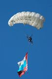 Skydiver. In airshow. Novosibirsk, Airport Mochishe, august 2006 Royalty Free Stock Photos