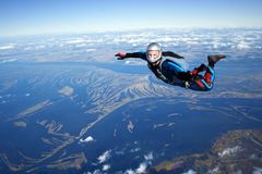 Skydiver. Falls through the air Royalty Free Stock Image