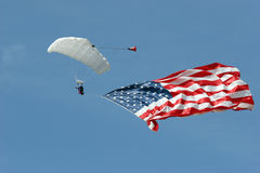 Skydiver. With flag of USA Stock Images