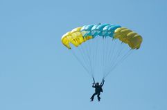 Skydiver. Novosibirsk, Airport Mochishe, airshow, august 2006 Royalty Free Stock Photo