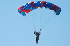 Skydiver. Novosibirsk, Airport Mochishe, airshow, august 2006 Royalty Free Stock Images