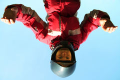 Skydiver. On trening on blue background Stock Images