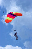 Skydiver. Against a cloudy sky Royalty Free Stock Photography