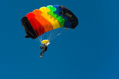 Skydiver. Crazy parachutist aiming for landing Royalty Free Stock Photo