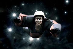 Skydiver  against the  starry sky Royalty Free Stock Image