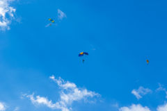 Skydiver in the air stock photos
