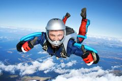 Skydiver. All right! Thumbs up! stock photography