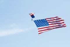 Skydiver with American Flag Royalty Free Stock Photo