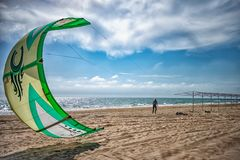 Russia Anapa 12.07.2018. Skydiver on the beach on a Sunny day royalty free stock images