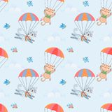Skydiver cat seamless pattern. Skydiver cute cat on blue sky seamless pattern for fabric textile wallpaper stock illustration